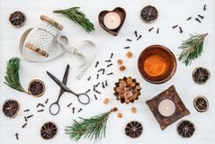 Christmas decor with candles, teacup and vintage items stock image