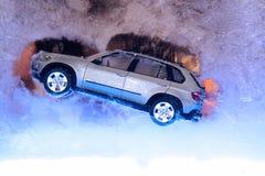 Christmas decor. Car on ice. Christmas decor.  Elegant Car on ice Stock Photos