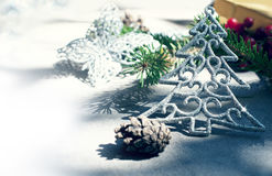 Christmas decor with christmas tree with toning Royalty Free Stock Photo