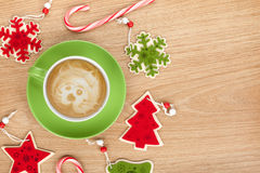 Christmas decor and coffee cup Stock Photography