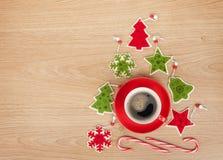 Christmas decor and coffee cup Stock Image