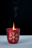 Christmas decor. Christmas colored candle with flame on Stock Photos