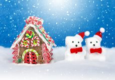 Christmas decor in snow royalty free stock photography