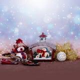 Christmas decor in snow stock photos