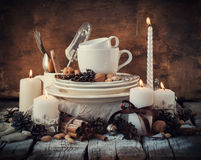 Christmas Decor with Dishware on the Table in Festive Composition Royalty Free Stock Photo