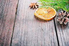 Christmas decor with dried orange Stock Images