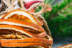 Christmas decor with dried orange Stock Photography