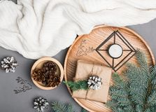 Christmas decor, fir branches and pine cones on grey background Royalty Free Stock Photos