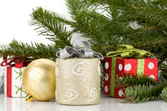 Christmas decor with fir tree Royalty Free Stock Photo