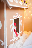 Christmas decor: gingerbread house. And gingerbread man Royalty Free Stock Images