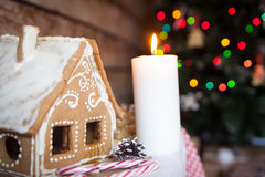Christmas decor: gingerbread house. New year candle Stock Photos