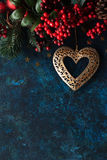 Christmas decor with heart Royalty Free Stock Images