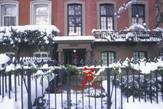 Christmas decor on historic home of Gramercy Park after winter snowstorm in Manhattan, NY Stock Image