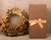 Christmas decor at home. Christmas decorations in golden tones at home Royalty Free Stock Image