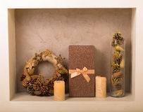 Christmas decor at home. Christmas decorations in golden tones at home Stock Photography