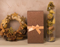 Christmas decor at home. Christmas decorations in golden tones at home Stock Images