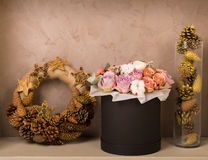 Christmas decor at home. Christmas decorations in golden tones at home Royalty Free Stock Images