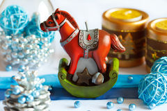 Christmas decor and horse Royalty Free Stock Image