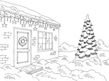 Christmas decor house exterior winter street graphic black white landscape sketch illustration vector royalty free illustration