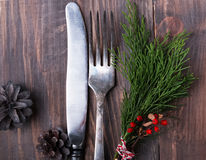 Christmas decor, knife and fork Royalty Free Stock Images