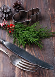 Christmas decor, knife and fork Royalty Free Stock Photo