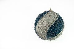 Christmas decor. Nice big blue and silver sparkling christmas ball Royalty Free Stock Image