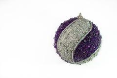 Christmas decor. Nice big blue and silver sparkling christmas ball Royalty Free Stock Photo