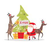Deers Decorate Fir Tree. Christmas Decor Presents. Christmas decor and presents with Santa Claus. Deers helpers decorate fir tree. Making presents for children Stock Photography