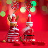 Christmas decor on red background Royalty Free Stock Image