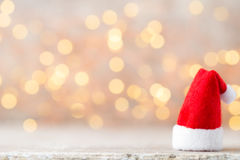 Christmas decor with santa hat. Vintages background. Stock Image