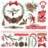 Christmas decor set.Spruce branches,pine cones Stock Photos