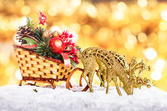 Christmas decor: sleigh and reindeers Royalty Free Stock Image