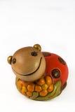 Christmas decor. Smiling Wood Ladybug on white background Stock Photography