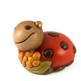 Christmas decor. Smiling Wood Ladybug on white background Royalty Free Stock Photography