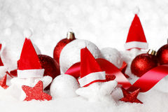 Christmas decor on snow Royalty Free Stock Photography