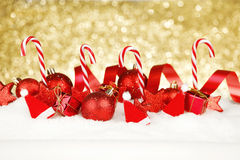 Christmas decor on snow Stock Photos