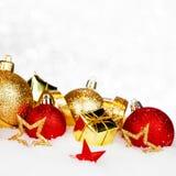 Christmas decor on snow stock photography