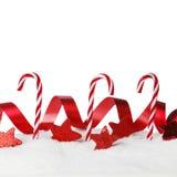 Christmas decor on snow Royalty Free Stock Photos