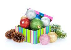 Christmas decor and snow fir tree Royalty Free Stock Photography