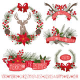 Christmas decor.Spruce branches,puansetiya,ribbins. Merry Christmas and new year decoationr set.Reindeer,Spruce fir tree branches,puansetiya,pine cones,red Royalty Free Stock Image