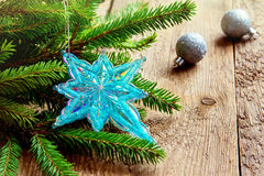 Christmas decor with star and fir Royalty Free Stock Images