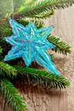 Christmas decor with star and fir Stock Image