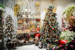 Christmas decor in the store on eve of New Year`s holidays. Christmas decor in the store on the eve of New Year`s holidays Stock Photo