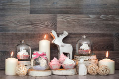 Christmas Decor and sweet. Deer, tasty, candles Stock Photography