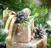 Christmas Decor on Vintage Boxes. Drawn Snow. Royalty Free Stock Photos