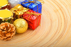 Christmas decor on wooden background Royalty Free Stock Photos