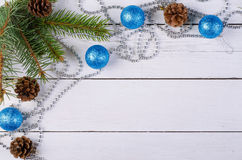 Christmas decor on a wooden background, top view. stock photo