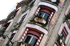 Christmas decorated building Royalty Free Stock Image