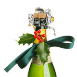 Christmas decorated champagne Royalty Free Stock Photo