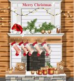 Christmas decorated chimney Vector realistic. Santa socks and presents. Christmas decorated chimney Vector realistic. Santa hat, socks and presents Royalty Free Stock Photos